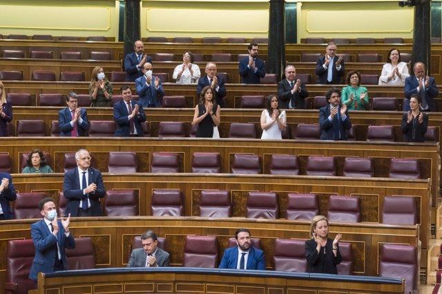 Esteban e Iñarritu no aplauden el discurso de las víctimas del terrorismo en el Congreso, en Madrid (España) a 27 de junio de 2020
