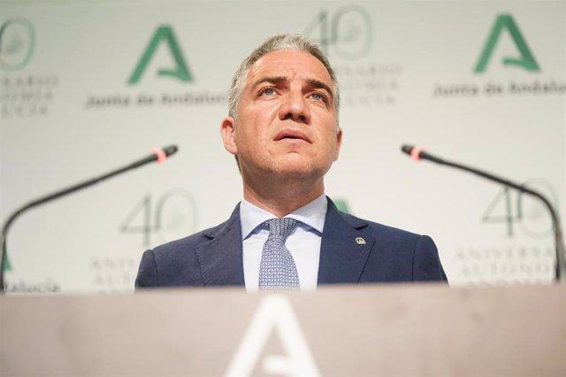 El portavoz del Gobierno andaluz, Elías Bendodo.