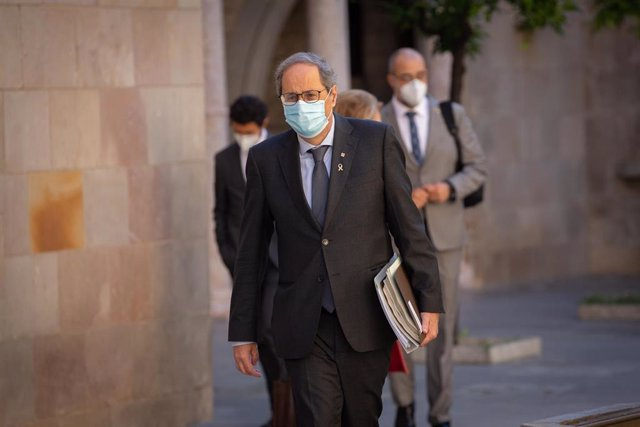 El presidente de la Generalitat, Quim Torra, a su llegada al Palau de la Generalitat. Foto de archivo.