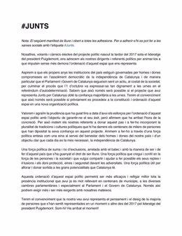 Manifest recolzat per dirigents i afins al JxCat que urgeix a reordenar el seu espai polític