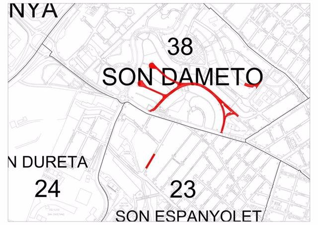 Cambios de pavimento en algunas calles del barrio de Son Dameto.