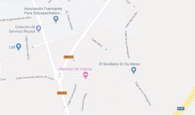 Imagen de la calle Membrilla de Ciudad Real en Google Maps