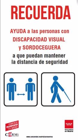 Imagen de la campaña de la Comunidad para el uso seguro del transporte público para personas con discapacidad