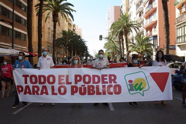 Valero (IU) en la manifestación convocada por CCOO en Málaga