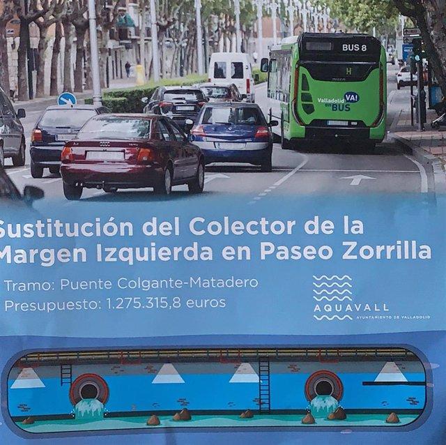 Díptico informativo sobre las obras del colector del margen izquierda en el paseo de Zorrilla.