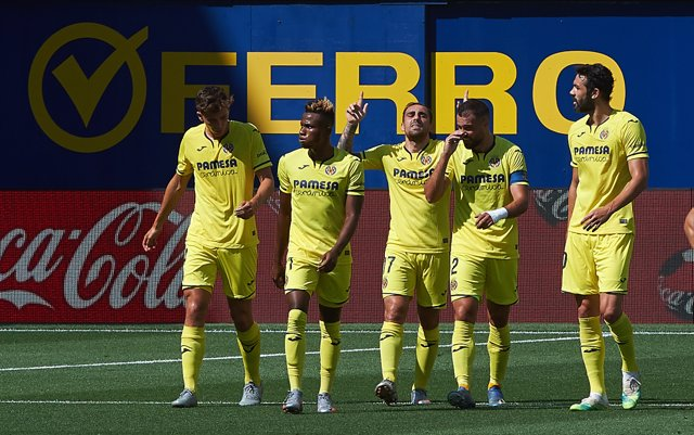 Paco Alcacer of Villarreal celebrates a goal during the la La Liga Santander mach between Villarreal CF and Valencia at La Ceramica Stadium, on June 28, 2020 in Vila-real, Spain
