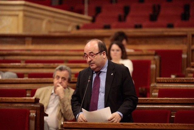 Miquel Iceta (PSC) en el pleno del Parlament del 21 de mayo.