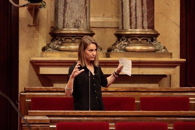 La líder de los comuns en el Parlament, Jessica Albiach, en el pleno del Parlament del 21 de mayo de 2020.