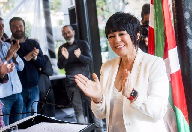 La candidata a lehendakari por EH Bildu, Maddalen Iriarte, durante el acto de proclamación en Durango (Bizkaia)