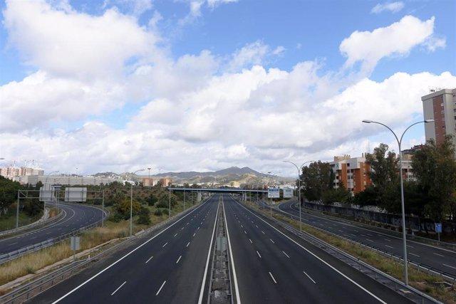 Parte de la Autovía del Mediterraneo o A-7. Málaga a 21 de marzo 2020
