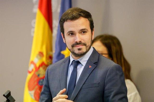 El ministro de Consumo, Alberto Garzón, durante la rueda de prensa de presentación del proyecto de Real Decreto de Comunicaciones Comerciales de las Actividades del Juego, en Madrid (España), a 21 de febrero de 2020.