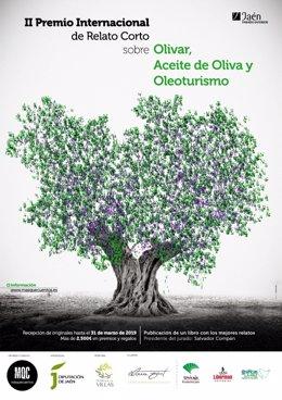 Cartel del 'Concurso Internacional de Relatos Cortos sobre Olivar, Aceite de Oliva y Oleourismo', primer premio de AEMO