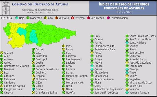 Mapa de riesgos de incendios forestales.