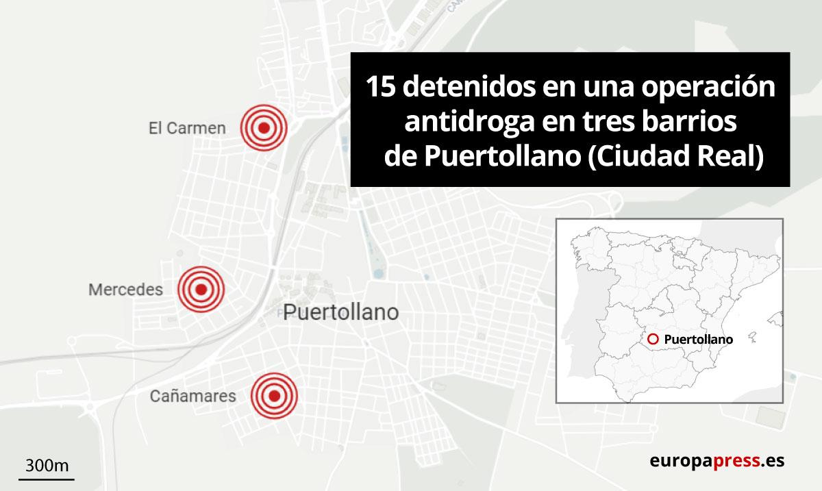 Puntos de la operación antidroga en Puertollano (Ciudad Real)