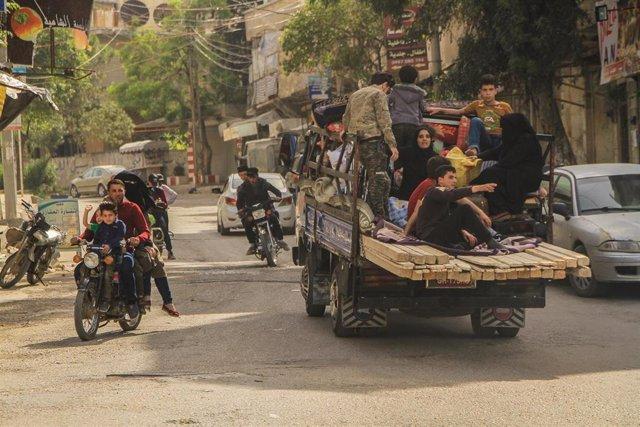 Desplazados sirios en Idlib