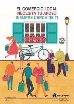 Cartel promocional del ayuntamiento de Alcalá de Henares en apoyo al comercio local.
