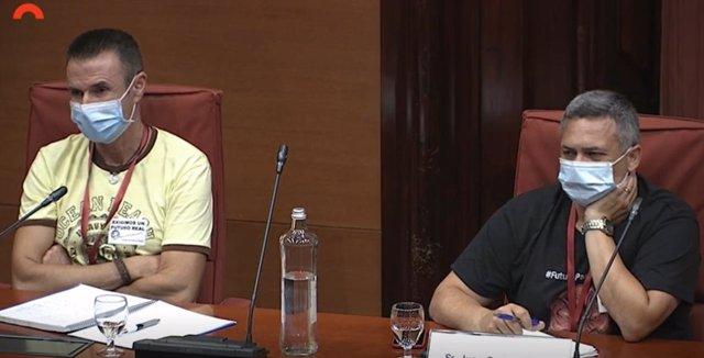 El secretari general de Sigen-Usoc a Nissan, Miguel Ruiz, i el president del Comitè d'Empresa de Nissan, Juan Carlos Vicente, aquest dilluns al Parlament