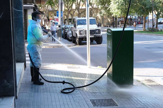 Un operario de limpieza desinfecta un buzón de correos en Palma.