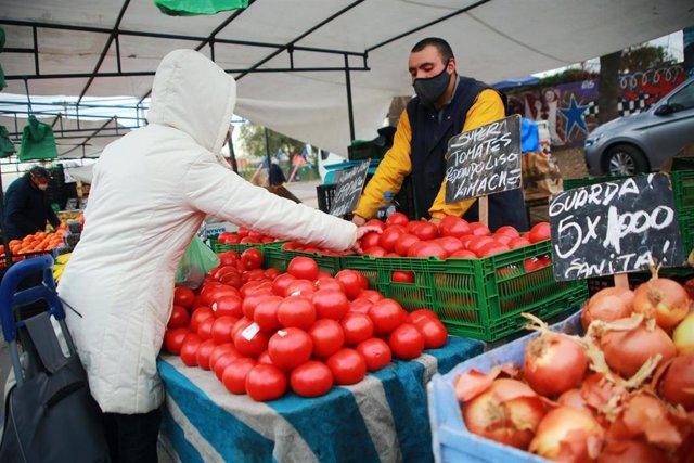 Mercado de Santiago de Chile durante la pandemia de coronavirus