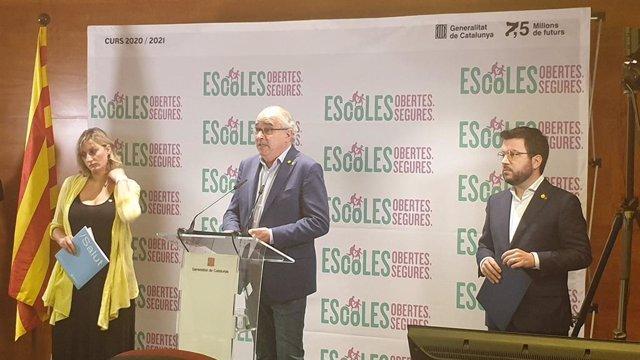 La consellera Alba Vergés, el conseller Josep Bargalló i el vicepresident Pere Aragonès