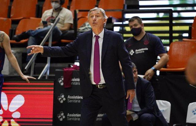 El entrenador del Barça, Svetislav Pesic,