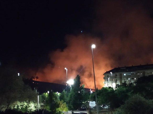 Incendio den el Cerro de los Pinos de Cáceres