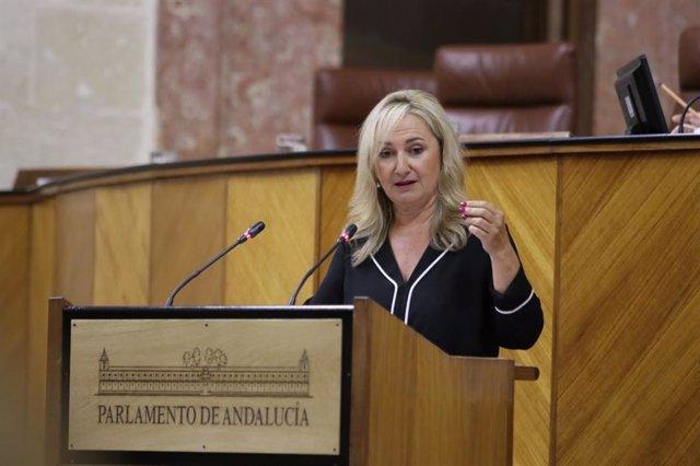 La diputada autonómica de Ciudadanos (Cs) por Sevilla Ana Llopis, en una foto de archivo en el Pleno del Parlamento andaluz.