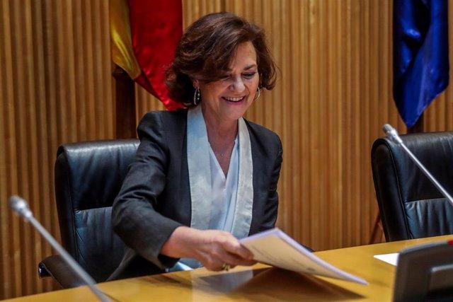 La vicepresidenta primera del Gobierno, Carmen Calvo, en el Congreso