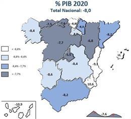 Cartel con la predicción de caída del PIB por parte de Ceprede en 2020