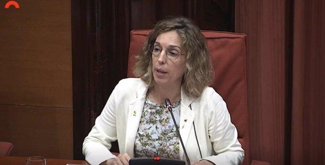 La consellera de Empresa y Conocimiento de la Generalitat, Àngels Chacón, en el Parlament este lunes