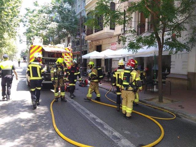 Incendio en avenida Gran Vía Marqués del Túria
