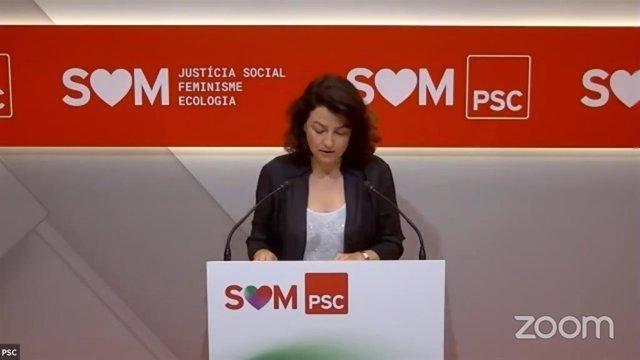 La portaveu del PSC en el Parlament, Eva Granados, en roda de premsa aquest 29 de juny