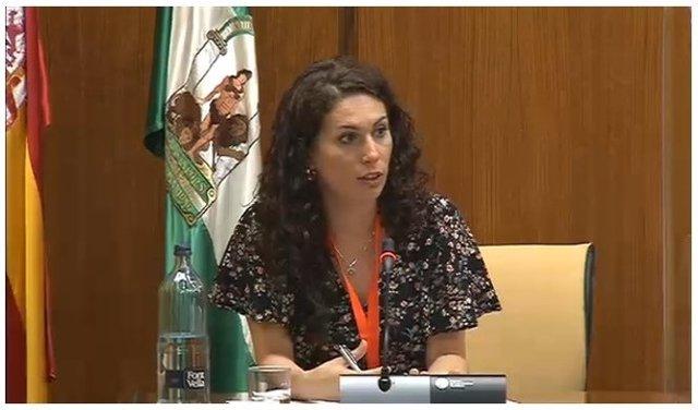 La miembro de junta directiva de Fakali María Filigrana en la subcomisión de Políticas Sociales y demás servicios sociales, dentro de la Comisión de Estudio sobre la recuperación económica y social de Andalucía