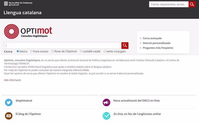 Captura de pantalla del portal de consultes lingüístiques en català Optimot
