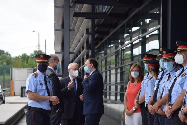 El conseller d'Interior, Miquel Buch; el cap de Mossos, Eduard Sallent; el director general de Mossos, Pere Ferrer, i el secretari general d'Interior, Brauli Duart, en presentar l'auditoria sobre l'actuació després de la sentència de el 1-O, el 29 de juny