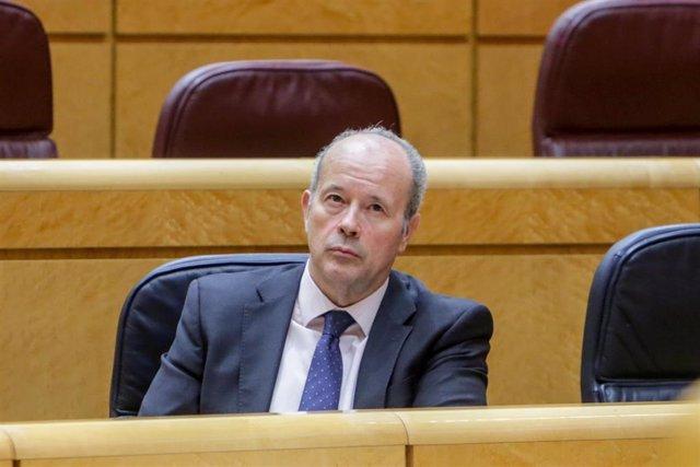 El Ministro de Justicia, Juan Carlos Campo, durante el pleno en el Senado en el que se cuestionan, entre otros asuntos, los costes del Ingreso Mínimo Vital y Ley de dependencia; la Proposición de Ley por la que se modifica la Ley 19/2007, de 11 de julio,