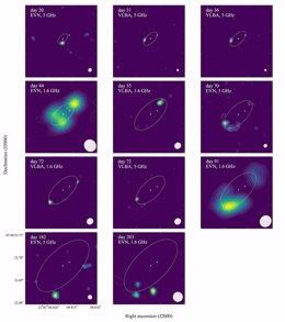 Conjunto de imágenes obtenidas de las observaciones, comenzando 20 días después del descubrimiento del evento nova y rastreando el avance del frente de choque durante más de seis meses