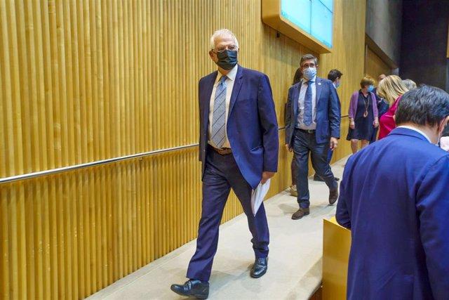 El alto representante de la Unión Europea para Asuntos Exteriores y Política de Seguridad, Josep Borrell (i), y el presidente de la Comisión para la Reconstrucción Social y Económica tras el coronavirus del Congreso, Patxi López