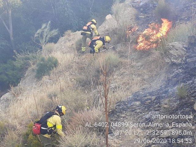Bomberos forestales trabajan contra las llamas en Serón