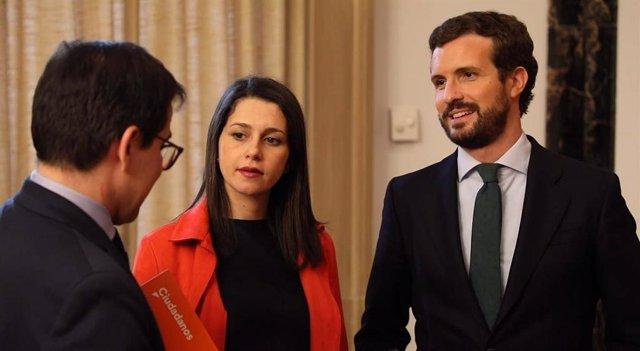 La presidenta de Ciudadanos, Inés Arrimadas, y el líder del Partido Popular, Pablo Casado.