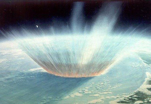 Ilustración de un impacto de asteroide en la Tierra