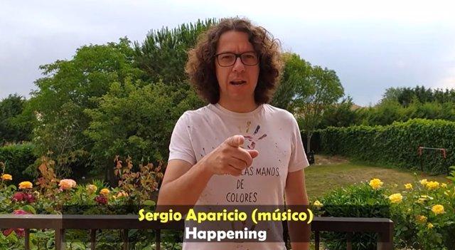Uno de los miembros del grupo 'Happening' en el vídeo de apoyo al sector de la Cultura.