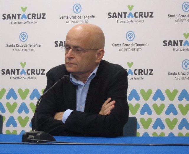 El portavoz de Unidas Podemos, Ramón Trujillo, en rueda de prensa