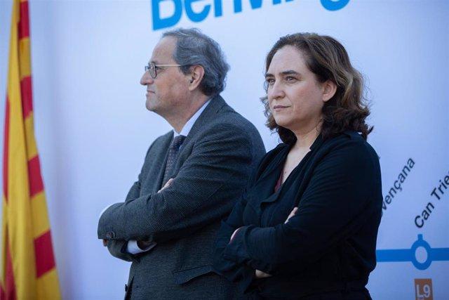 Quim Torra y la alcaldesa de Barcelona, Ada Colau, inauguran la estación Zona Franca de la L10 Sud del Metro de Barcelona, a 1 de febrero de 2020