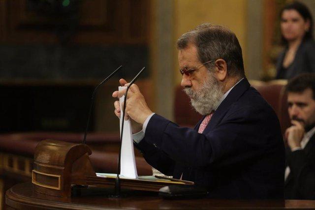 El Defensor del Pueblo, Francisco Fernández Marugán, en su intervención donde ha presentado los Informes correspondientes a la gestión realizada durante los años 2018 y 2019, durante una sesión plenaria en la que además se debate el Decreto Ley 21/2020, o