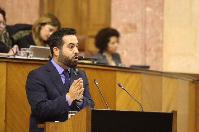 El portavoz adjunto del grupo parlamentario de Ciudadanos (Cs), Fran Carrillo, en una intervención en el Pleno del Parlamento