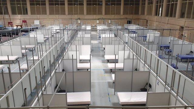 El pavelló d'Inefc habilitat per acollir pacients de l'Hospital Clínic durant la crisi sanitària del coronavirus (Arxiu)