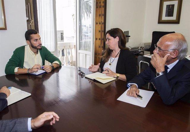 El vicepresidente segundo y responsable del área de Transición Ecológica y Desarrollo Urbano Sostenible, Mario Fernández, con representantes del Colgio de Arquitectos de Cádiz, en una imagen de archivo