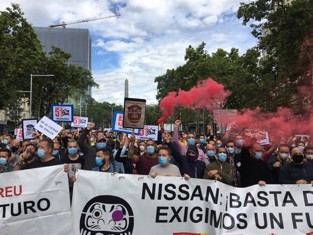 Concentración de trabajadores de Nissan en el centro de Barcelona, el 18 de junio de 2020.