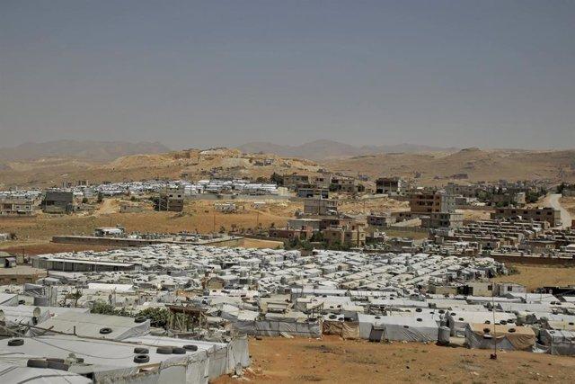 Asentamiento de refugiados sirios en la localidad libanesa de Arsal